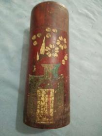 晚清竹制手绘博古花卉茶筒