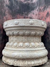 马云同款青白石茶几石台摆件高70 直径90。现货速购