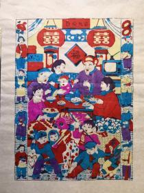 精美白绵纸!!80年代印改革版画潍县杨家埠木版年画社出品*创新灶王