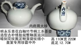 明永乐青花白釉竹节柄三系茶壶[内府铭文]官窑大珍