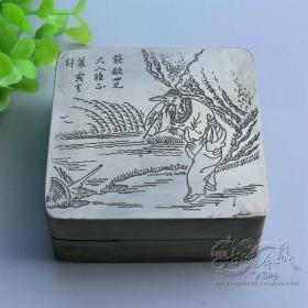 姜太公钓鱼人物故事纯铜墨盒