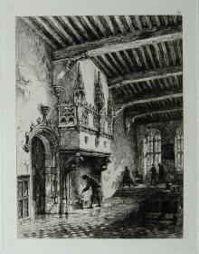 """1877年1版""""真正的蚀刻铜版画""""《比利时奥德纳德的壁炉》—""""Ernest George"""" 作品 版内签名 36x26cm"""