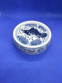 寒窑青花瓷手工胚胎手绘盖托/ 景德镇古法制瓷盖置
