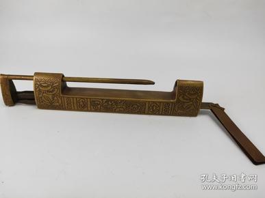 民初黄铜锁,手工雕刻, 包浆厚重,自然,值得收藏,重约518克