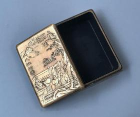 八仙仰寿纯铜方墨盒