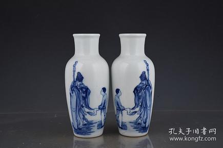 珠山八友王步青花东坡玩砚赏瓶