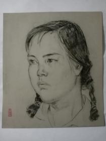 孙卓章素描人物画一幅  25✘28厘米