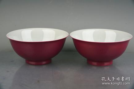 大清雍正年制胭脂红釉碗
