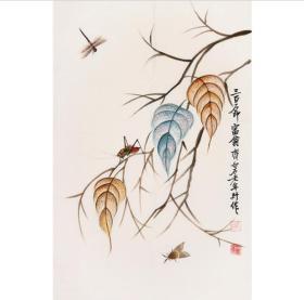 齐白石写意花鸟   贝叶虫草