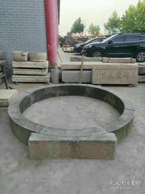青石圆门一套,外径尺寸2米38厘米,内径尺寸2米02厘米,适合庭院,会所,古建筑装修佳品。
