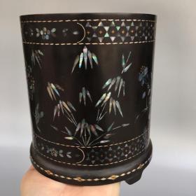 漆器笔筒 古典漆器花鸟笔筒 文案漆器笔筒