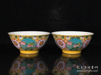 清康熙珐琅彩四季花卉纹寿字碗