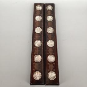 实木镶白铜《十二生肖》书房镇尺一对 尺寸如图,重770克