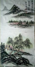 山东省美协会员刘持永山水四条屏国画作品