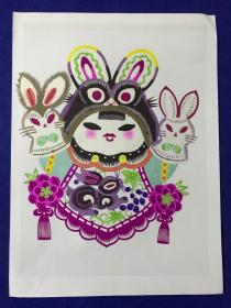 精致漂亮的 手工剪紙作品 16開大小 兔爺。