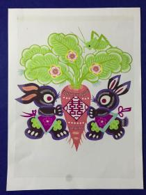 精致漂亮的 手工剪紙作品 16開大小 兔子 很好看。