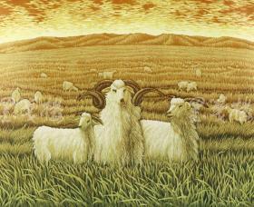 黑龙江青年女版画家 侯丽 2011年亲笔签名 木版油印版画《牧歌》 一幅(版号随机、所售编号20-50/100,作品得自于艺术家本人!)HXTX115832