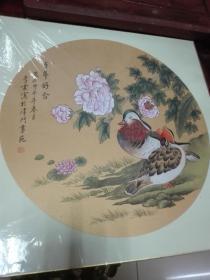 李震,花鸟,约2平尺镜心