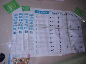 游泳技术挂图(仰、蝶、蛙、爬 4张)带毛泽东语录104*75CM L3