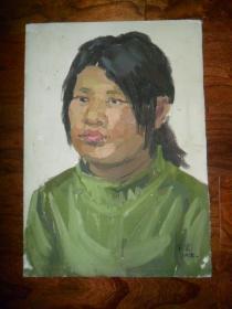 带签名(飞云)油画《人物妇女》08.