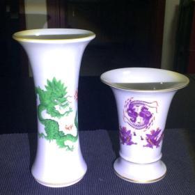 德国迈森瓷器描金粉彩龙纹和凤纹花觚瓶一对