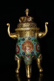 旧藏纯铜景泰蓝手工掐丝珐琅彩万象炉  熏香炉摆件高33厘米长22厘米宽14厘米,重2650克