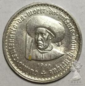 葡萄牙1960年5埃斯库多亨利王子银币纪念币 外国硬币 全新UNC