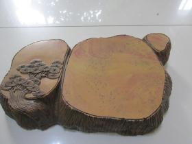 特大型,旧雕刻,老树桩随型红丝砚——极漂亮的摆件——这样的老坑红丝石已经不多见了。