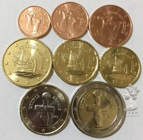 塞浦路斯2017年最新版清年份硬币8枚一套大全套1欧分-2欧元 UNC