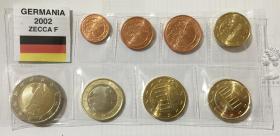 稀少首发版全F厂 德国2002年清年份硬币8枚一套大全套1欧分-2欧元