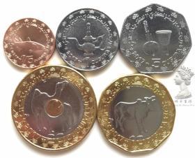毛里塔尼亚2017年清年份最新版硬币5枚一套大全套 动物版 全新