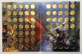 原装册 俄罗斯2010-2019年英雄城市系列10卢布纪念币57枚大全套