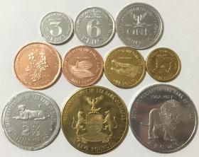 比夫拉共和国2017年清年份银行50周年纪念币10枚一套硬币大全套