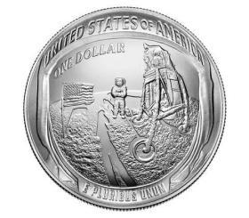 现货 原盒证 美国2019年阿波罗11号登月50周年1美元1盎司纪念银币
