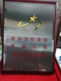 木质摆件---第七届山东省精神文明建设精品工程组织工作奖  赠礼品盒  实拍实录  现货