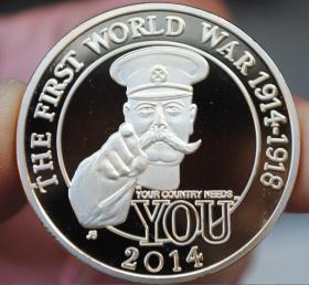 纪念章镀银英国一战百年欧洲硬币直径约40mm收藏