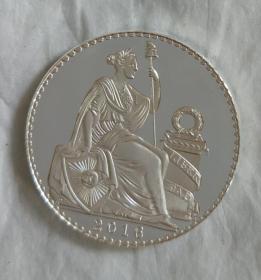 纪念章镀银秘鲁自由女神直径约35mm收藏