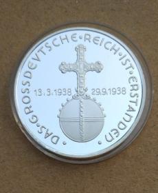 纪念章镀银外国1938纪念币硬币直径约40mm带小圆盒欧洲