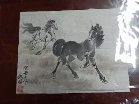 著名连环画家国画家姚柏老师     原稿国画:   《神驹图》.