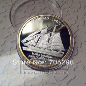 船币 勇者无惧 断锁怒潮 1839南美国南北战争双色纪念币 外国硬币