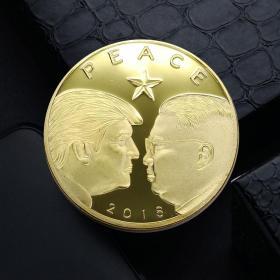2018年新加坡美朝峰会纪念币 和平硬币川普与三胖特金会纪念金币