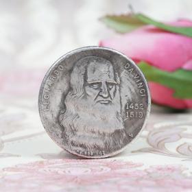 二手            欧洲文艺复兴天才达芬奇纪念币银元 意大利银圆外国硬币银币古玩