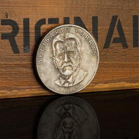 1976年巴拿马总统波拉斯纪念银币银元 5巴波亚银币外国钱币收藏品