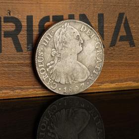 南美洲墨西哥造双柱银元银币 1807年西班牙卡洛斯四世8R银圆古玩