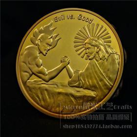 美国纪念章 天使与恶魔镀金币纪念币收藏世界钱币工艺品硬币