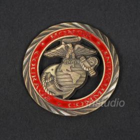 现货 美国海军陆战队标志镂空纪念币 金币收藏幸运硬币纪念章金币