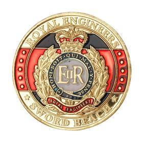 英国皇家工程师工兵部队镀金纪念币 诺曼底登陆纪念章ER军迷硬币