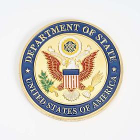 美国驻法国巴黎使馆镀金纪念币 埃菲尔铁塔纪念徽章美国鹰币收藏
