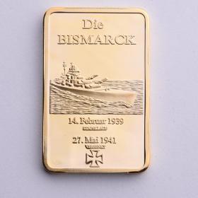 德国战舰俾斯麦镀金块海军纪念币 狗年猪年生肖纪念币军迷收藏品