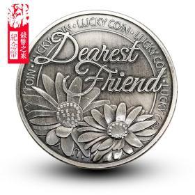 四叶草幸运纪念章复古币 好运邹菊花瓣硬币库克群岛友谊爱情银币
